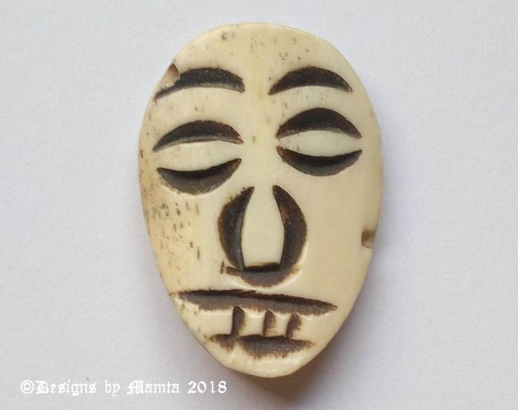 Vintage Tribal Face Mask Bone Bead Hand Carved Beads