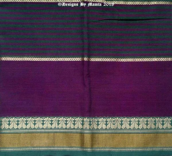 Violet Purple Green Cotton Sari Fabric