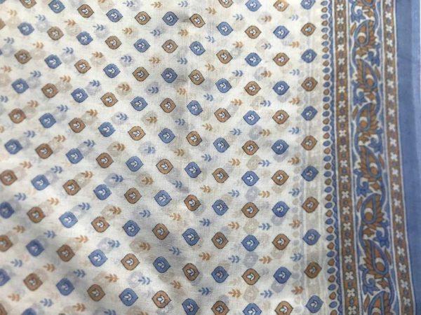 White Blue Brown Sari Fabric