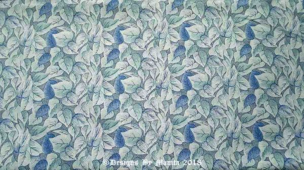 White Blue Hearts Leaves Quilting Fabric