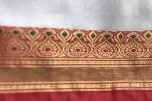 White Gold Red Ilkal Saree Fabric