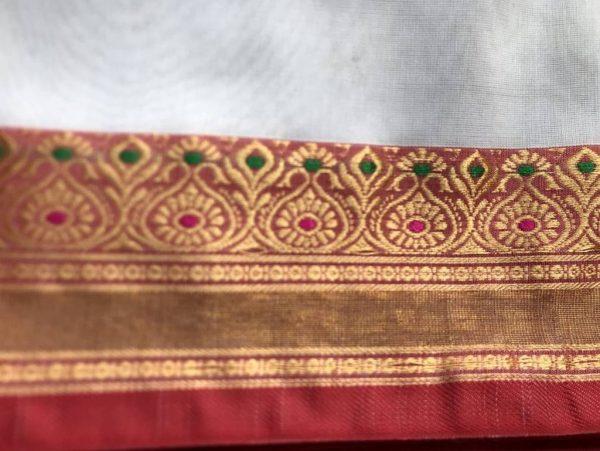White Gold Red Ilkal Saree Fabric