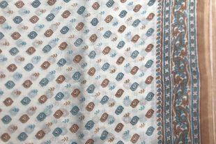 White Gray Brown Sari Fabric