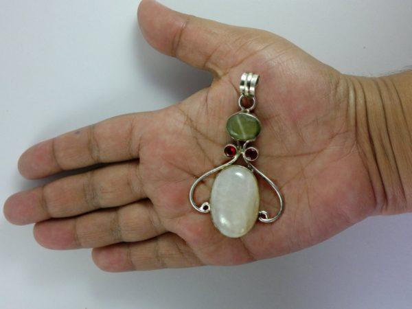 White Jade Multi Gemstone Vintage Pendant