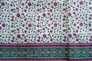 White Purple Floral Sari Fabric