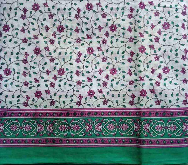 White Purple Floral Sari Fabric