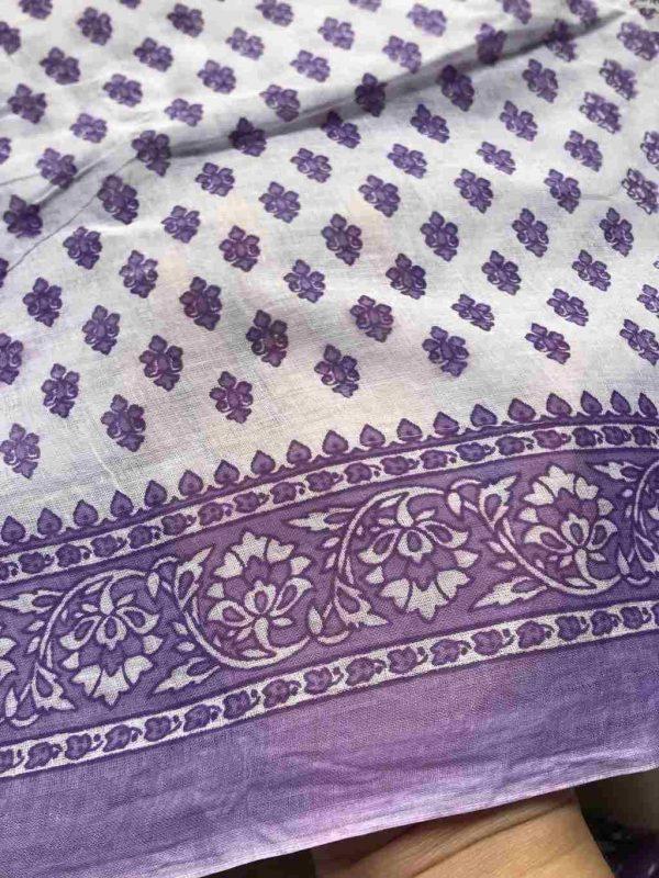 White Purple Indian Saree Fabric