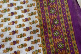 White Purple Printed Sari Fabric