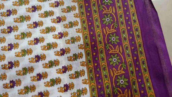 White Purple Printed Sari Fabric