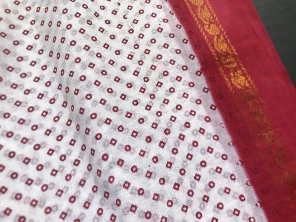 White Red Tie Dye Sari Fabric