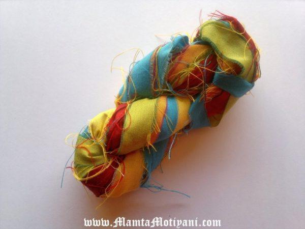 Wild Flowers Sari Silk Ribbon Yarn