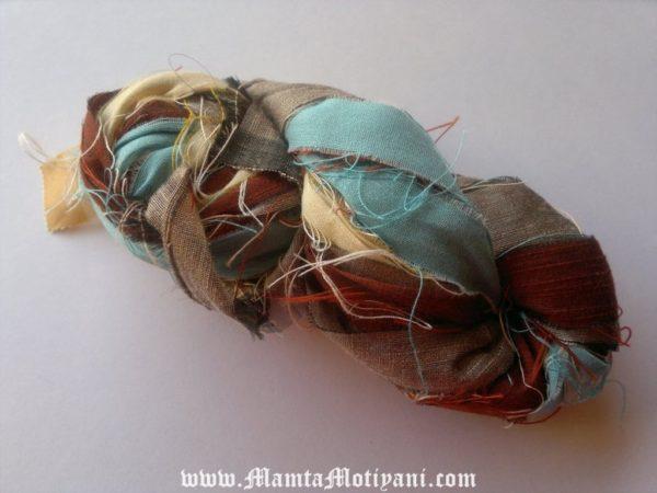 Wood And Sky Sari Silk Yarn Ribbon