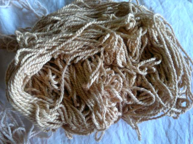 Yarn dyed with onion peels