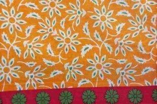 Yellow Floral Cotton Sari Fabric