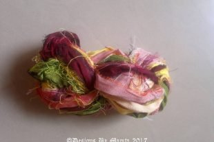 Zinnia Flower Sari Yarn Ribbon